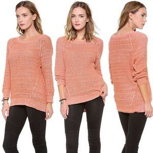 Free People Marled Peach Knit HiLow Sweater NEW XS